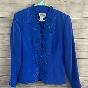 Adrianna Papell Blue Silk Embroidered Jacket